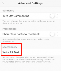 click write alt text for instagram post